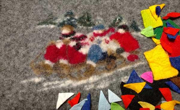 Wool felt artwork- Ateliers d'un pas feutré